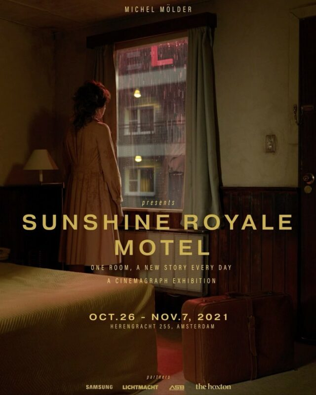 """I am extremely proud to present to you, a Cinemagraph exhibition:    """"Sunshine Royale Motel"""" Oct 26 - Nov 7 2021, The Hoxton  Amsterdam  What started out as a fun DIY project building a small filmset together with @johandijkstra, is now a complete exhibition! So happy to finally share this with the world!   Together with an awesome team we created the story of a dirty, old motel room where individual passengers briefly occupy the space. The room itself remains undisturbed, as it is a silent and passive witness to time. Only the guests color the mood inside the walls, over and over again.  22 cinemagraphs showcased on The Frame by @samsungnederland in the heart of Amsterdam @thehoxtonhotel   Hope to see you there!  Www.sunshineroyalemotel.com  Credits:  Director: Michel Mölder Dop: Johan Dijkstra Assistant director: Anouk Maas Gaffer: De Lichtmacht Head Hair & Make-up: Kayleigh Schultz Hair & Make-up: Madelon Prinsen & Sisley Angenois Styling: Evita Broere Setdressing: Kirsten Hanssen Set aging: Andrea vd Kolk & Nicole Kroes Copywriter: Claudio Tapia Casting & Production: Cameleon Productions B.V. Strategic Advisor: Robert Jan Glas Setdesign: Michel Mölder & Johan Dijkstra Edit/VFX: Michel Mölder Agent: Het Agentschap  Guests:  Barbara Sloesen Barrie Stevens Dennis Willekes Erik de Vogel Gerrie van der Klei Humberto Tan Imanuelle Grives Isa Hoes Jody Bernal Loiza Lamers Lucas Hamming Nowi Hagen Puck Pommelien Busser  Partners:  De Lichtmacht Samsung Nederland The Hoxton ASB Audio Visuele Producties  @johandijkstra @anoukmaasofficial @lichtmacht @daanthieme @k.ayleighhschultz @mua_madelon @sisleyangenois_ @evitabroere @kirstenhanssen @nicole_kroes @robertjanglas @het_agentschap @jigal @barbarasloesen @barriestevens.official @denniswillekens @romancingtheglobe @humbertotan @imanuelleg @isahoes @jodybernal @loizalamers @lucashamming @puckpomelien"""